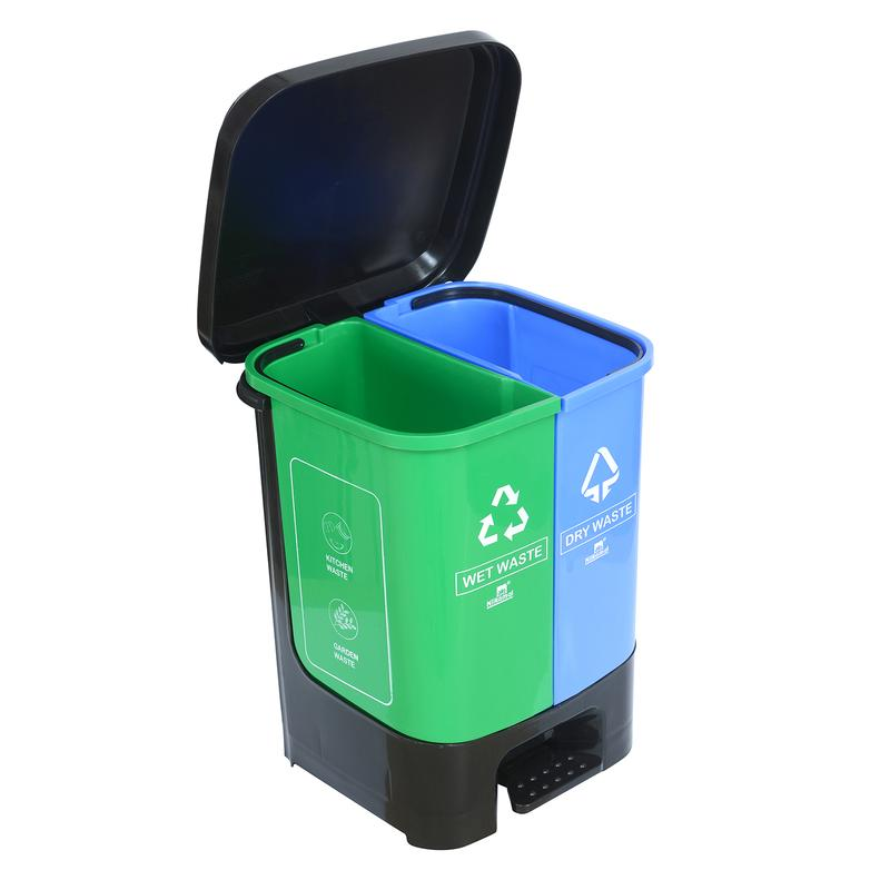 Nilkamal Twin Color Dustbin for Home, Kitchen, Restaurant Blue and Green 10 Ltr
