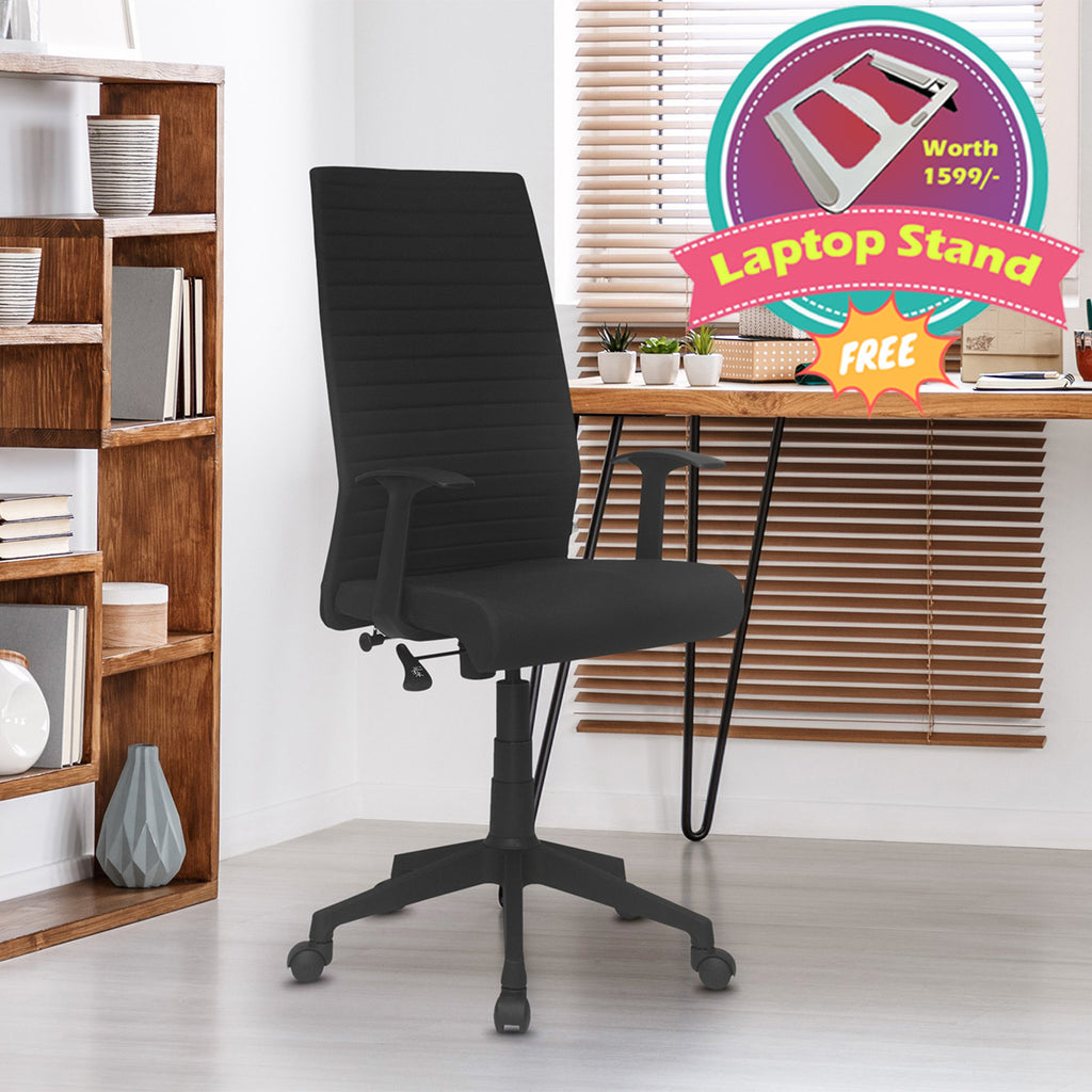 Nilkamal Thames High Back Fabric Chair with Laptop Stand Complimentary