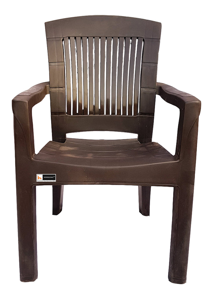 Choice Jaguar Plastic Chair (Weather Brown) Long Back Support - HOMEGENIC