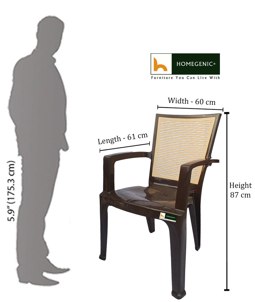 Homegenic River Plastic High Back Chair (Super Glossy Finish) - HOMEGENIC