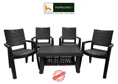 Elegant Heavy Duty Coffee Table Set 1+4 (Matte Black) Made with 100% Polypropylene Material - HOMEGENIC