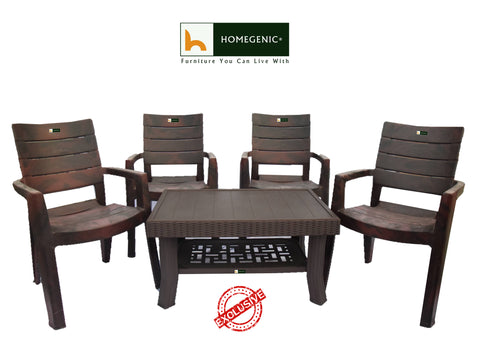 Elegant Heavy Duty Coffee Table Set 1+4 (Matte Brown) Made with 100% Polypropylene Material - HOMEGENIC