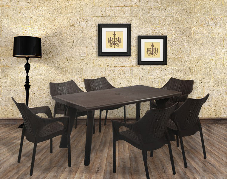 Bison 6 Seater Dining Table Set with Cambridge Chairs (BROWN) - HOMEGENIC