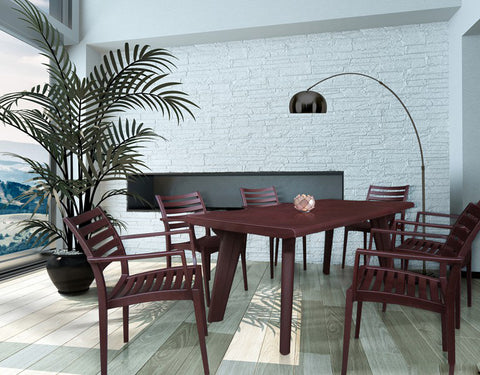 Bison 6 Seater Dining Table Set with Empire Chairs (Brown) - HOMEGENIC