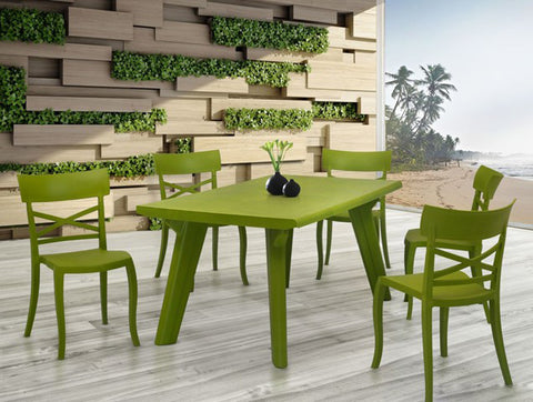 Bison 6 Seater Dining Table Set with Cruz Chairs (Olive Green) - HOMEGENIC
