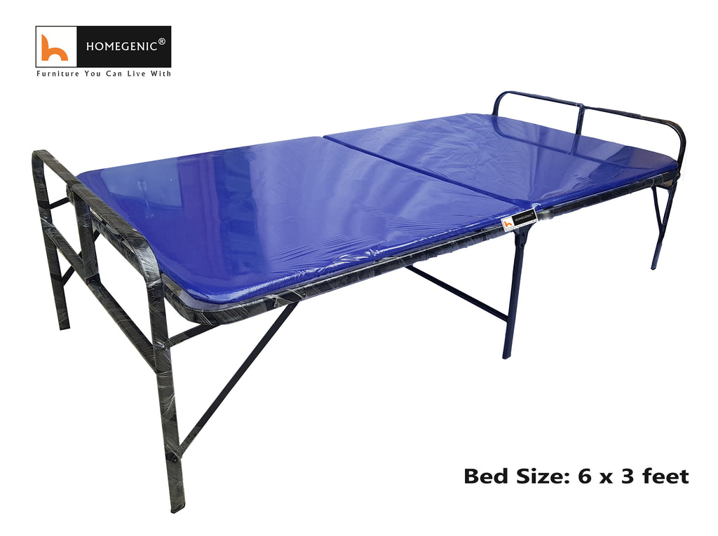 Homegenic Smart Single Folding Guest Bed with Foam Mattress Base Multi color Fabric - HOMEGENIC