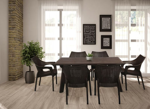 Bison 6 Seater Dining Table Set with Cambridge Chairs (Black) - HOMEGENIC