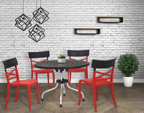 Cherry 4 Seater Dining Table Set with Cruz Chairs (Red-Black) - HOMEGENIC