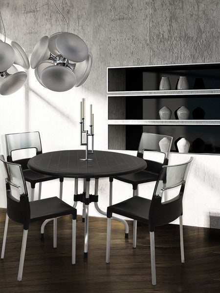 Cherry 4 Seater Dining Table Set with Diva Chairs (Black) - HOMEGENIC