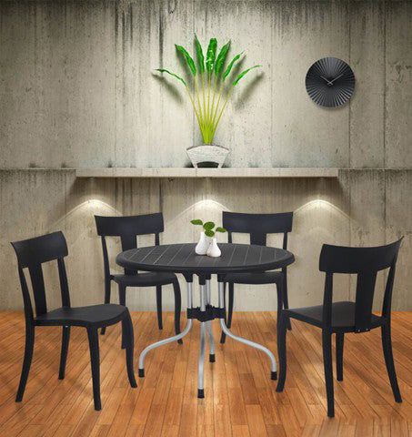 Cherry 4 Seater Dining Table Set with Deck Chairs (Black) - HOMEGENIC