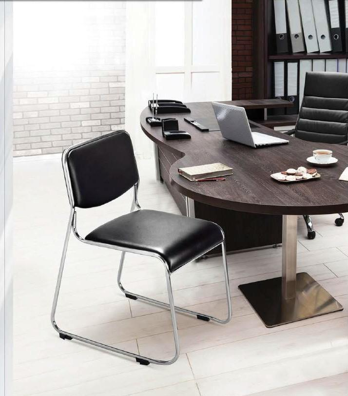 Homegenic Contract 01 Office Leatherette Chairs (Stainless Steel, Black Color)