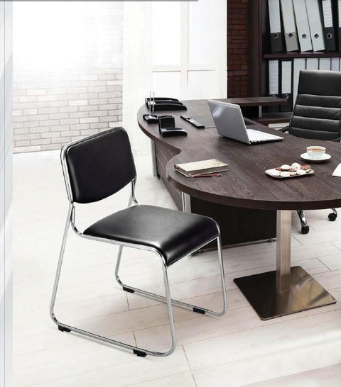 Homegenic Contract 01 Office Leatherette Chairs (Stainless Steel, Black Color) - HOMEGENIC