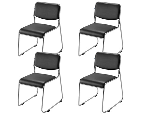 Office Leatherette Chairs SS Set of 04 (Black) - HOMEGENIC
