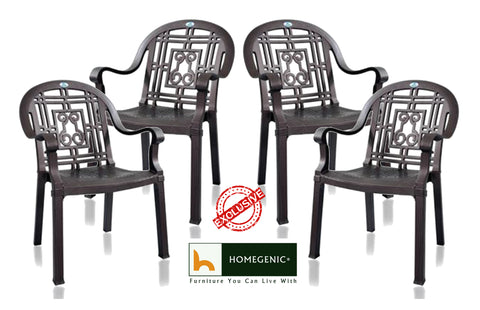 Nilkamal Premium Chair (Iron look alike) Brown -Set of 04 - HOMEGENIC