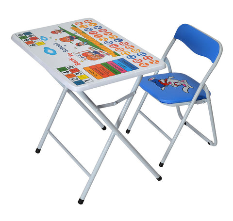 Nilkamal Kid's Study Table Set in Steel (White & Blue) - HOMEGENIC