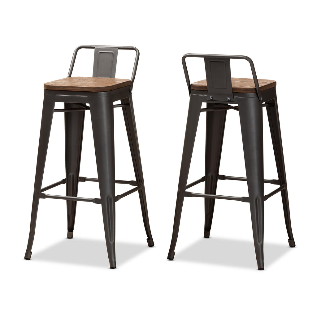 "Torup Tolix Metal Bistro Bar Stool with Wood Seat- 30""."