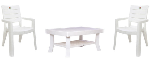 Premium Chair & Table 2+1 (Milky White) - HOMEGENIC