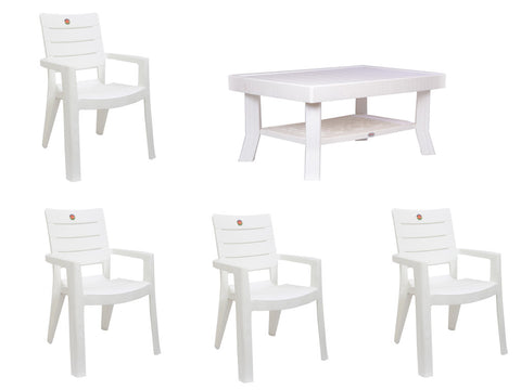 Premium Chair & Table 4+1 (Milky White) - HOMEGENIC