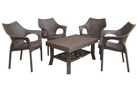 Cambridge 4 Seater Coffee Table Set (Brown) - HOMEGENIC