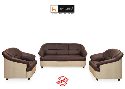 Nilkamal Full Leatherite Knight Sofa Set 3+1+1 (Brown & Cream) Without Coffee Table - HOMEGENIC