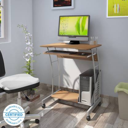 Nilkamal Leo Computer Trolley/Table (Beech) - HOMEGENIC