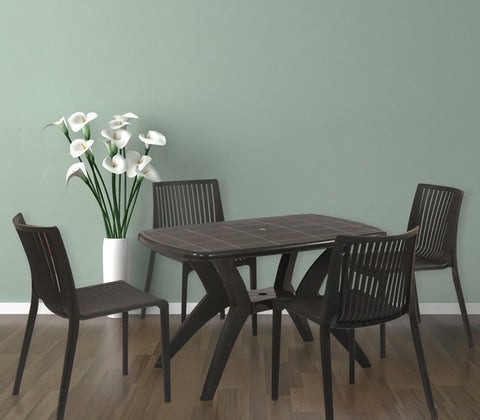 Melody 4 Seater Dining Table Set with Oasis Chairs (Brown) - HOMEGENIC