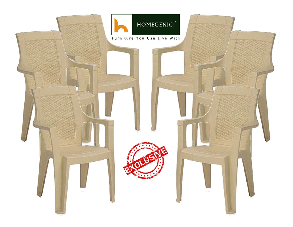 Nilkamal Mystique High Back Chair with Arm (Marble Beige) - HOMEGENIC