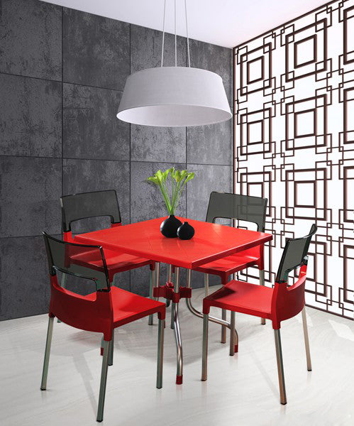 Olive 4 Seater Dining Table Set with Diva Chairs (Red) - HOMEGENIC