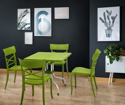 Olive 4 Seater Dining Table Set with Cruz Chairs (Green) - HOMEGENIC