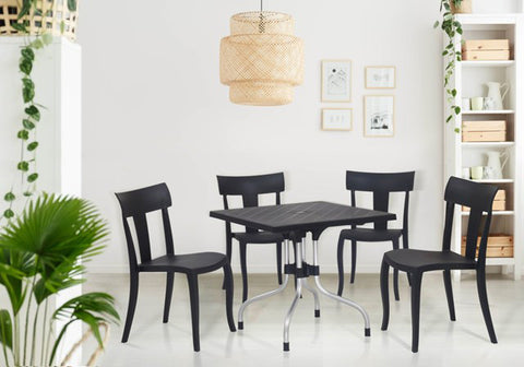 Olive 4 Seater Dining Table Set with Deck Chairs (Black) - HOMEGENIC