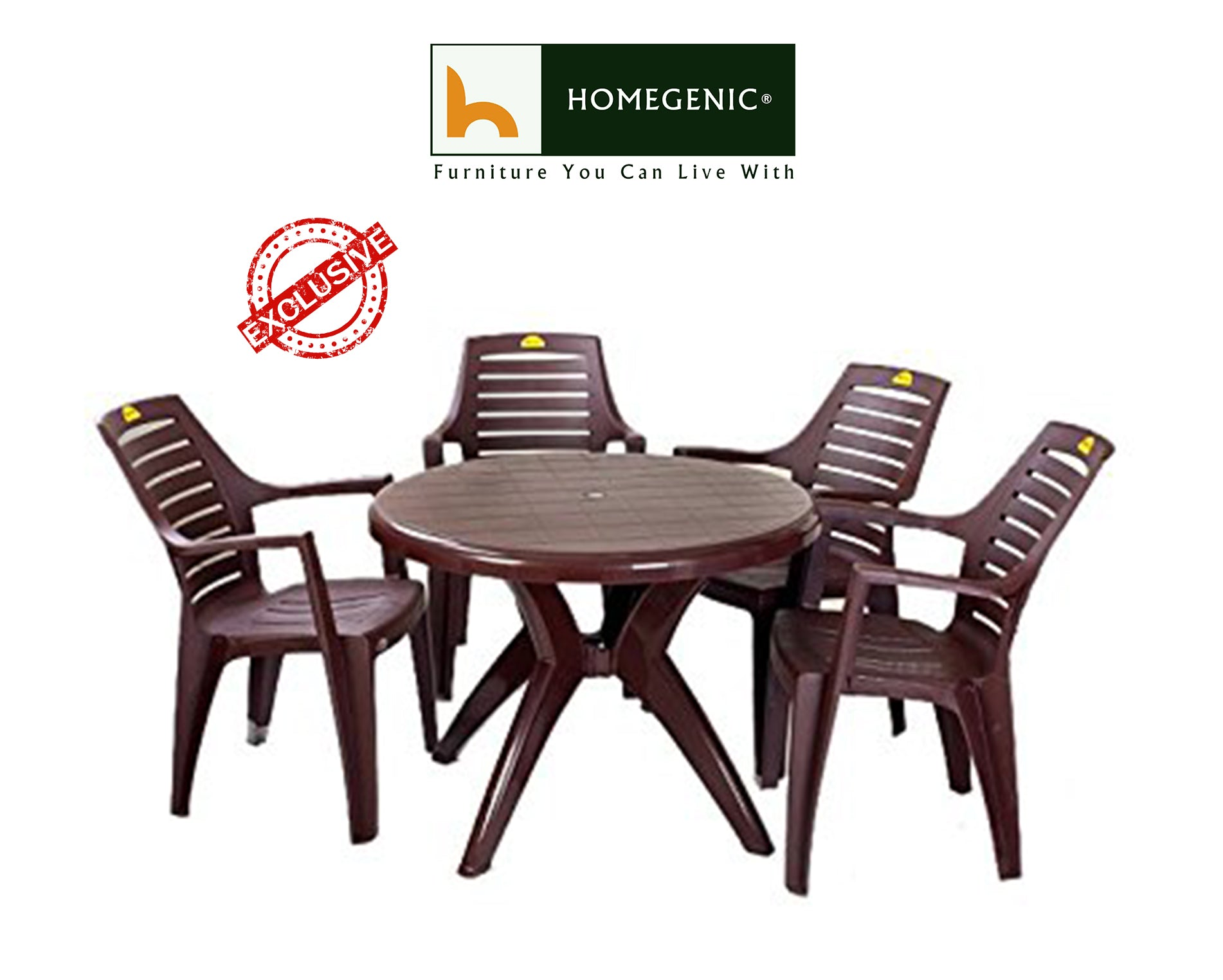 Dining Set Kisan Table Chair Brown Pcolor Plastic