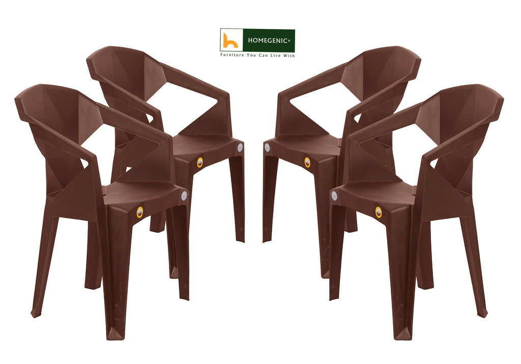 Kisan Premium UNBREAKABLE Chairs (Brown color)- Set of 4 - HOMEGENIC