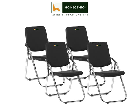 Homegenic Metal Folding Leatherette Chair (Black) - HOMEGENIC