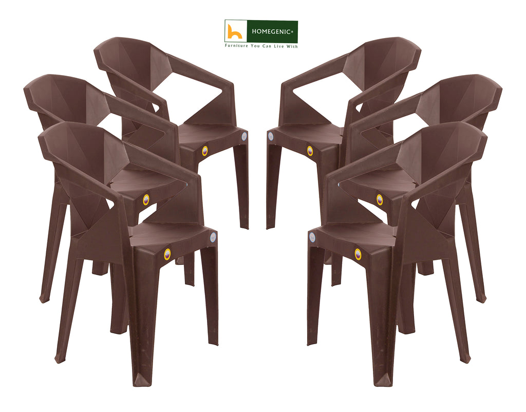 Homegenic UNBREAKABLE Plastic Chairs in Brown color - HOMEGENIC