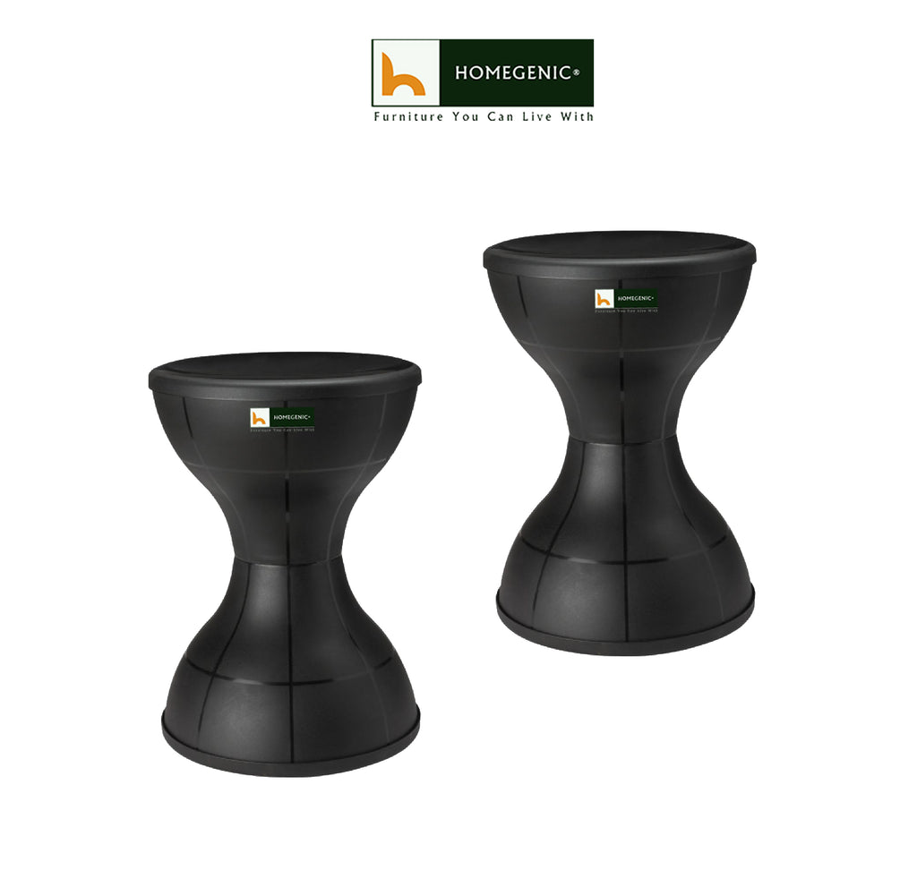 Nilkamal Plastic Stool Set of 02 (Black) - HOMEGENIC