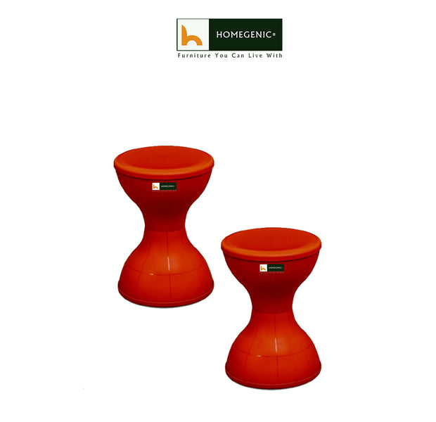 Nilkamal Plastic Stool Set of 02 (Red) - HOMEGENIC