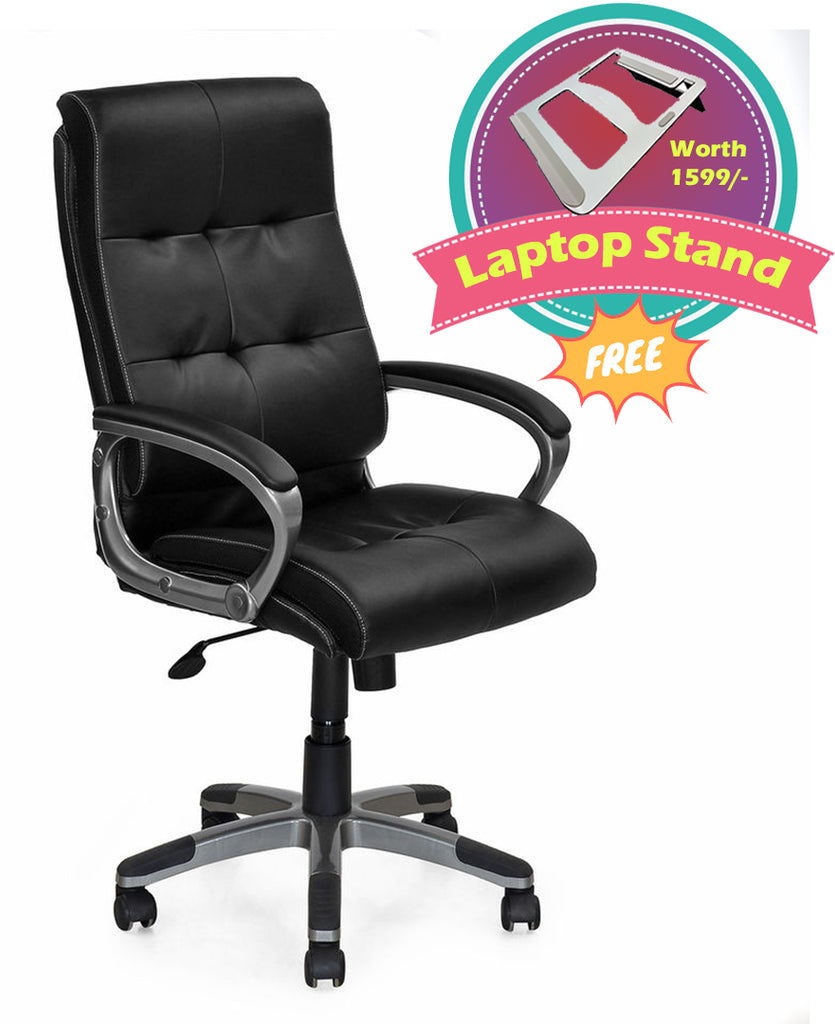 Nilkamal Veneto Office Chair (Black) with Laptop Stand Complimentary