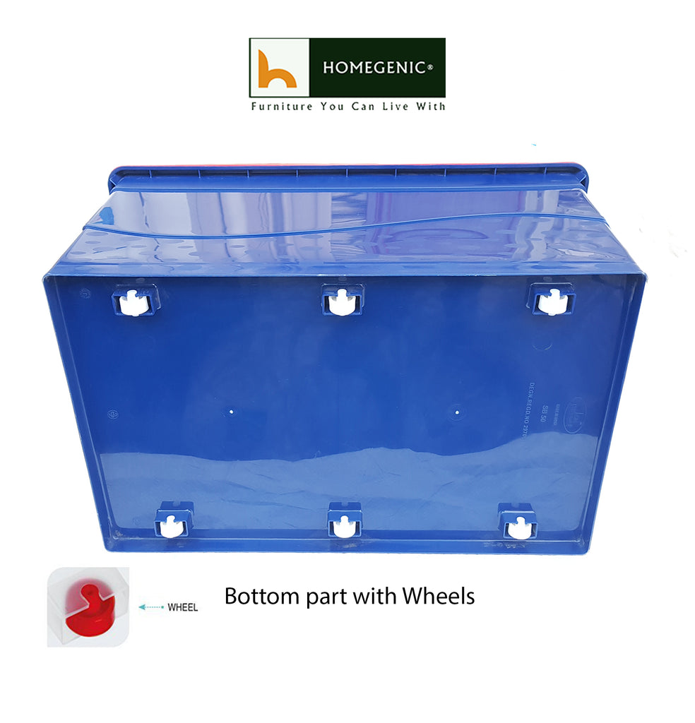 Nilkamal Stackable Storage Box 50 Ltr. with Wheels (Blue & Red) 1 Pc - HOMEGENIC