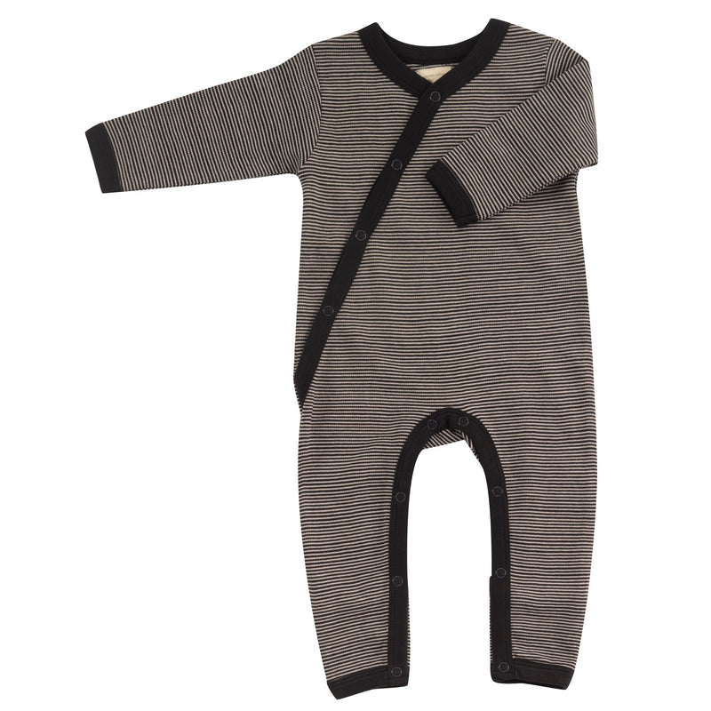 Organic Cotton Fine Black Stripe Romper