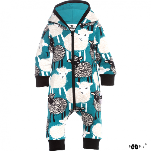 RIEMU Blue Hooded Onesie - Baa Print by PaaPii