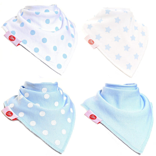 Zippy Baby Baby Blue White Bandana Dribble Bib 4 pack