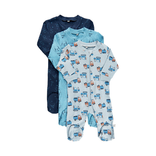 Pippi Cotton Zip Sleepsuit Set (3 Sleepsuits) - Blues