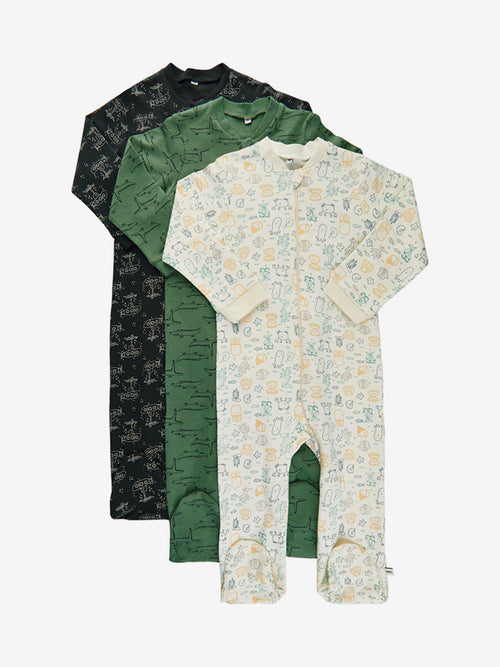 Pippi Cotton Sleepsuit Set (3 Sleepsuits) - Water Mix