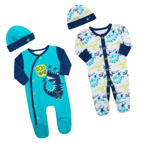 Baby Boy Cotton Sleepsuit Set (Premature Baby 2 x Sleepsuits)