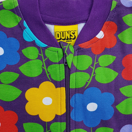 DUNS Sweden Purple Flower Print Organic Cotton Zip Sleepsuit