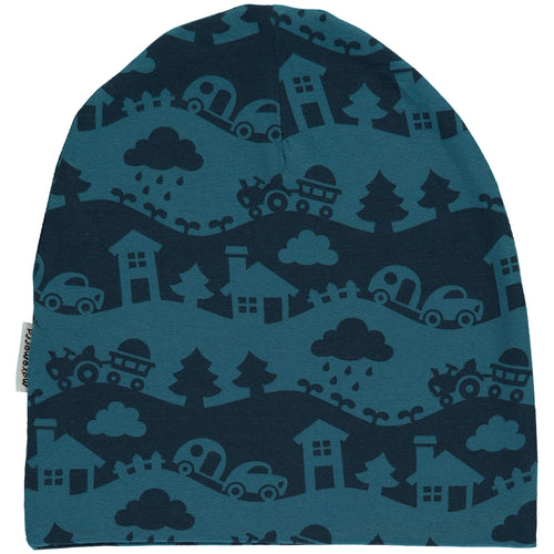Maxomorra Blue Landscape Organic Cotton Beanie Hat