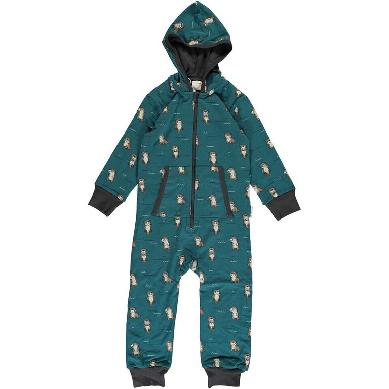Maxomorra Curious Otter Print Hooded One Piece