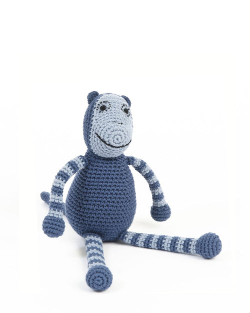 Blue Hand Crocheted Monkey