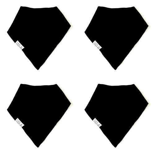 Babygrowie Bandana Black Dribble Bib - Organic Cotton - 4 Pack