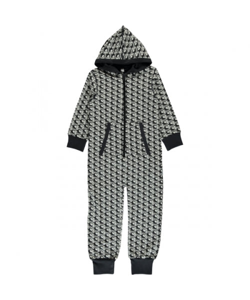 Maxomorra Helicopter Print Hooded Onesie